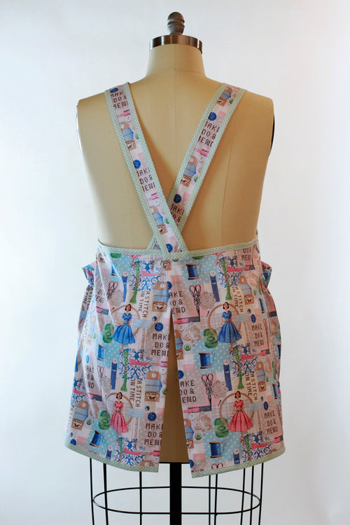 Sewing Print No Tie Apron - back view