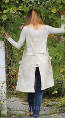 XS-5X No Tie Crossback Apron in Oatmeal 100% Flax Linen, back view