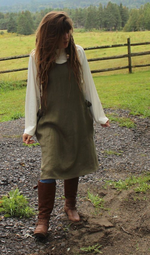 XS-5X No Tie Crossback Apron in Olive 100% Flax Linen