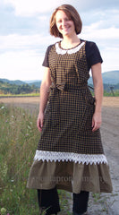 Country Hostess Apron in Black 100% Cotton Homespun with lace trim over a wide ruffled bottom, front view