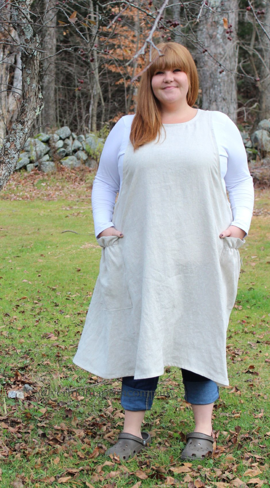 XS-5X No Tie Crossback Apron in Oatmeal 100% Flax Linen, plus size, front view