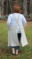 XS-5X No Tie Crossback Apron in Oatmeal 100% Flax Linen, plus size, back view