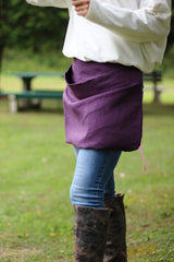 Pouch Apron in Eggplant Linen - side view