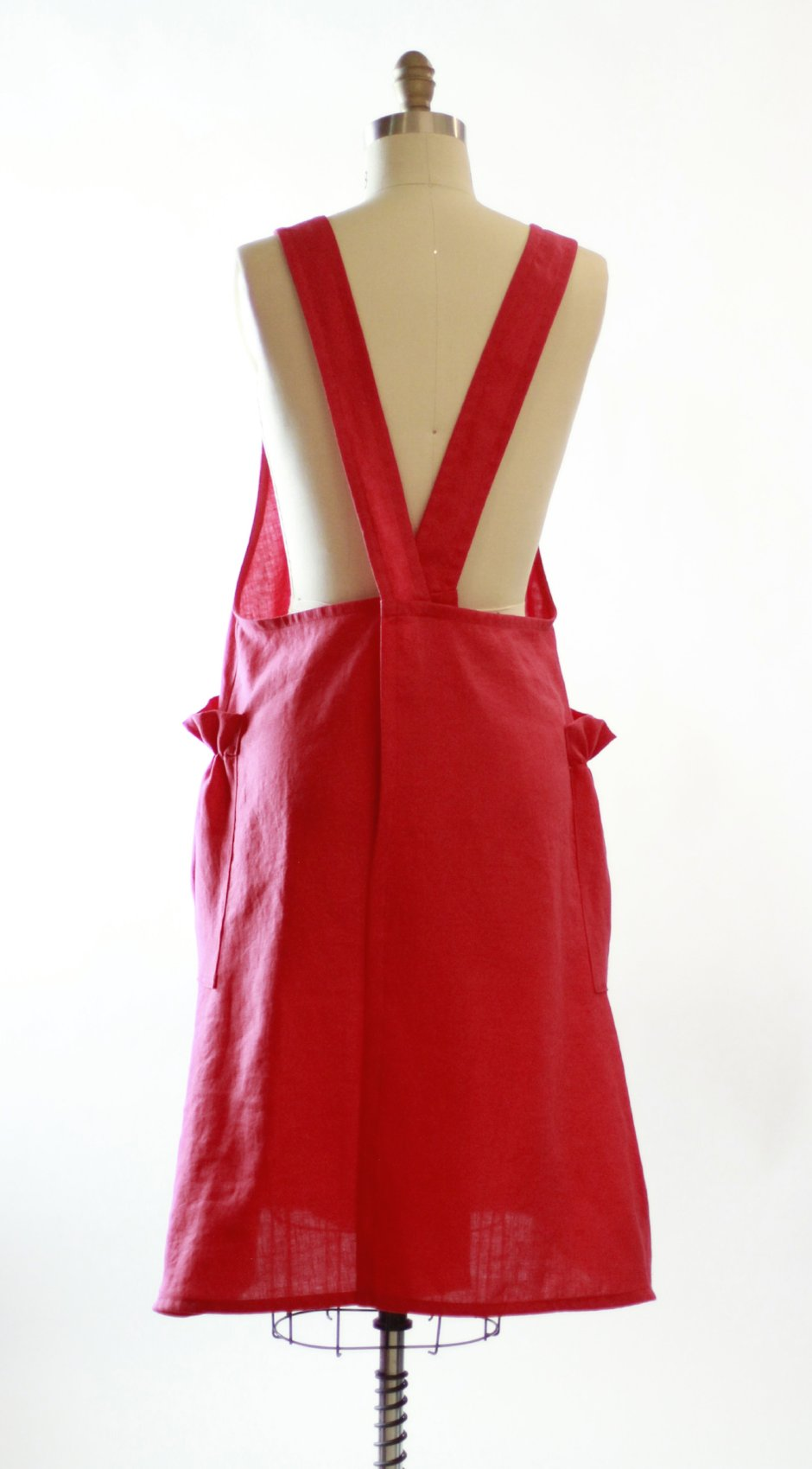 No Tie Crossback Apron in Red 100% Flax Linen XS-5X, back view