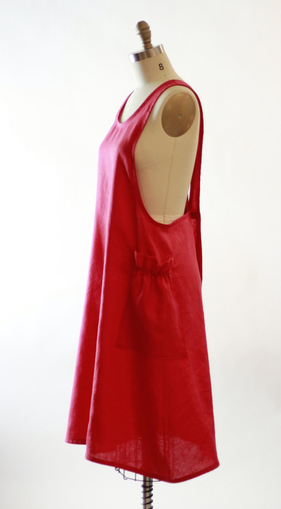 No Tie Crossback Apron in Red 100% Flax Linen XS-5X, side view