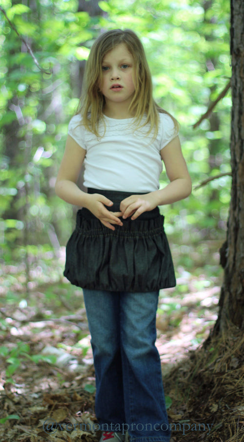 Childrens Ruffled Gathering Apron in Black Denim