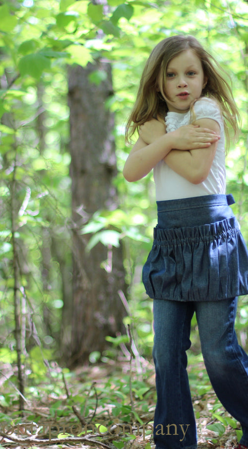 Childrens Ruffled Gathering Apron in Navy Denim