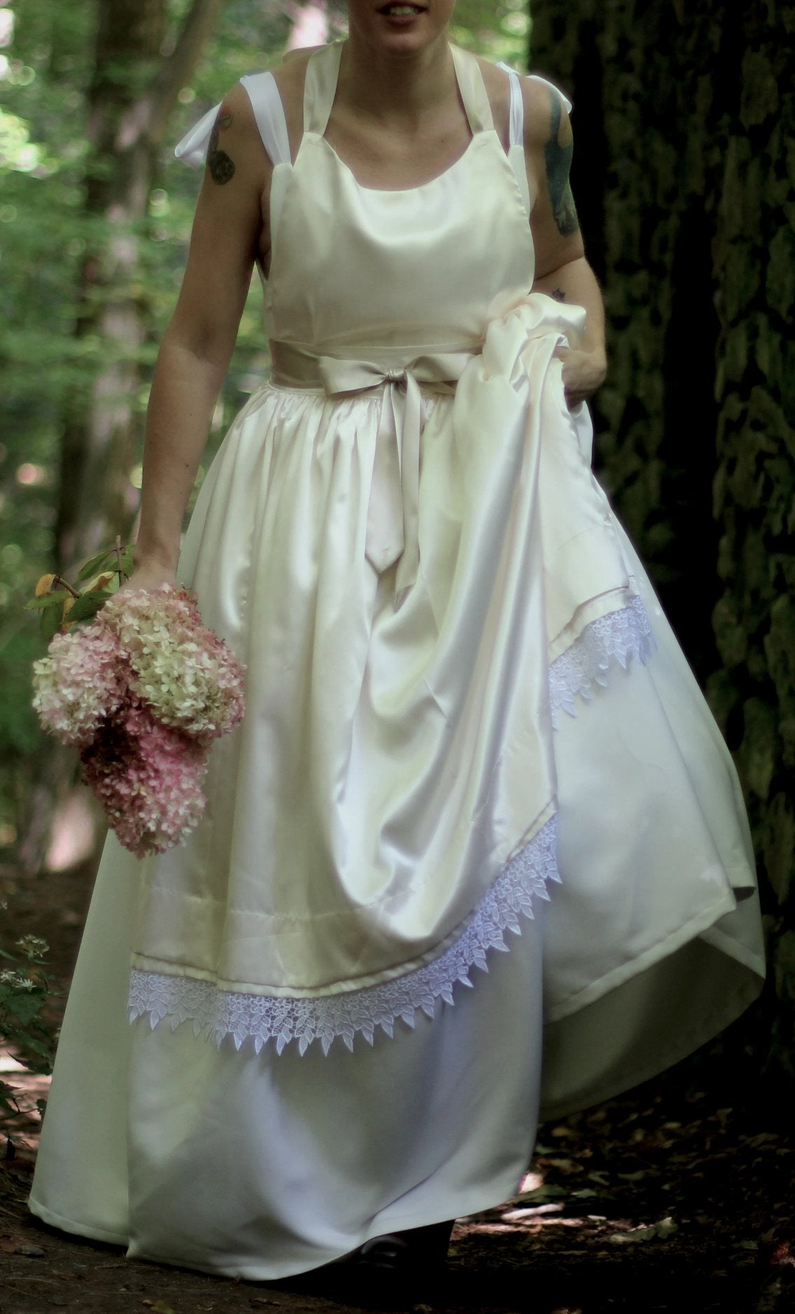 Bridal Apron in Satin, Pleats and Lace - front view 2
