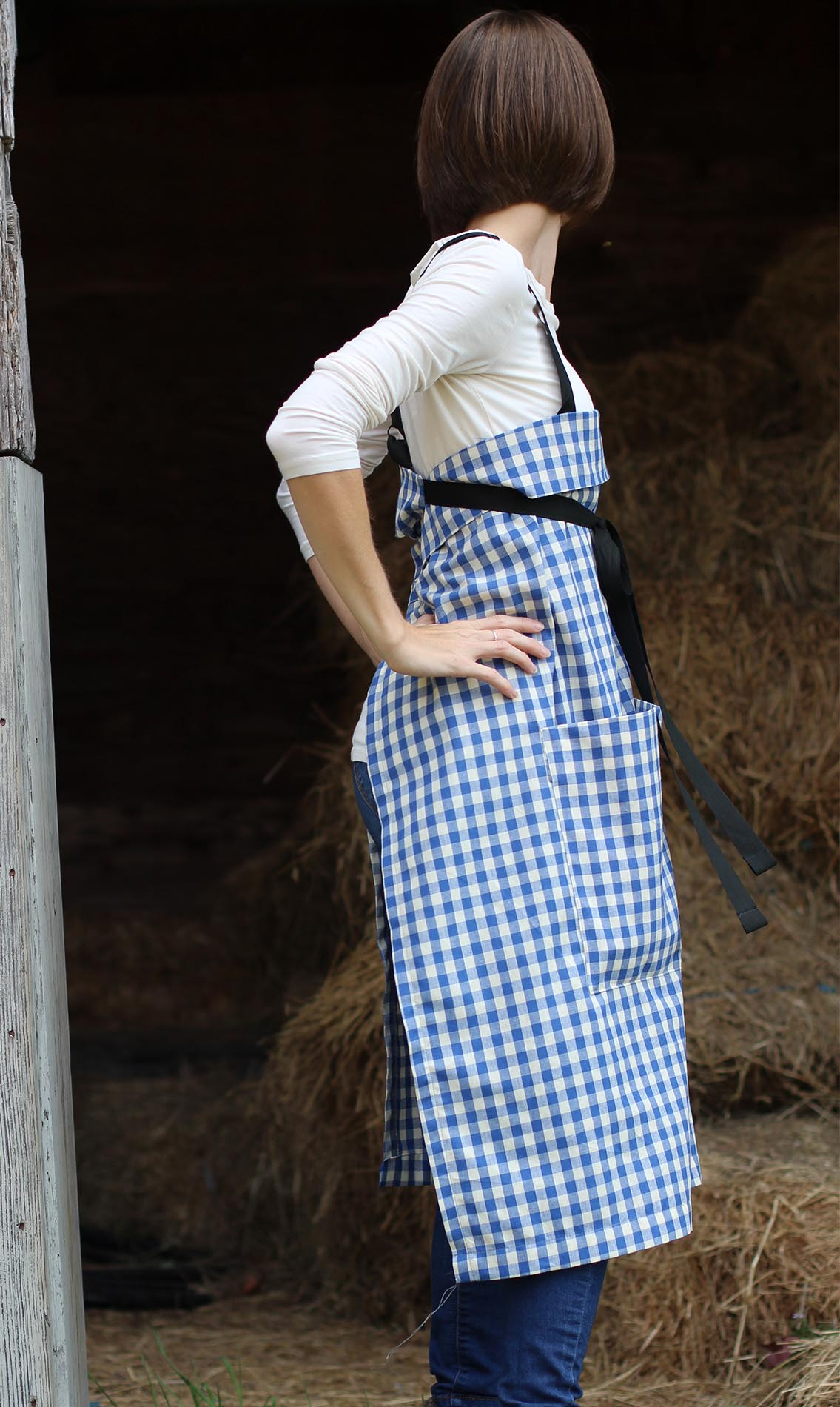 The Wrap Apron in Blue and White Check by The Vermont Apron Company - Side View