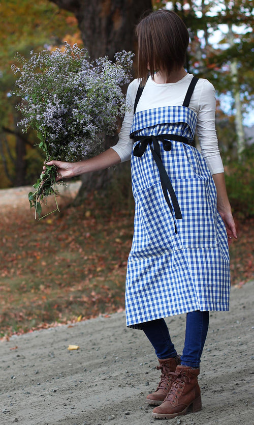 The Wrap Apron in Blue and White Check by The Vermont Apron Company - Autumn View - Front View