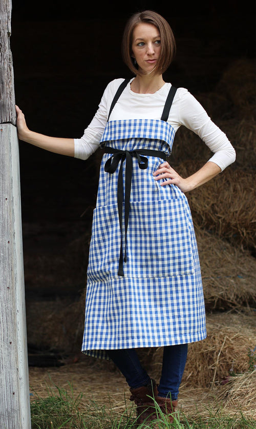 The Wrap Apron in Blue and White Check by The Vermont Apron Company - Front View