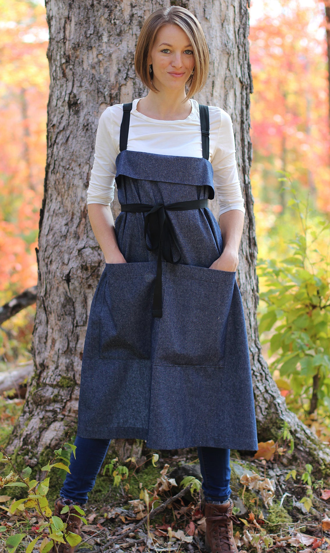 The Wrap Apron in Denim - Front View