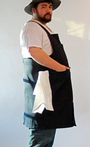 XS- 6X Mens Long Apron in Brown Brushed Twill