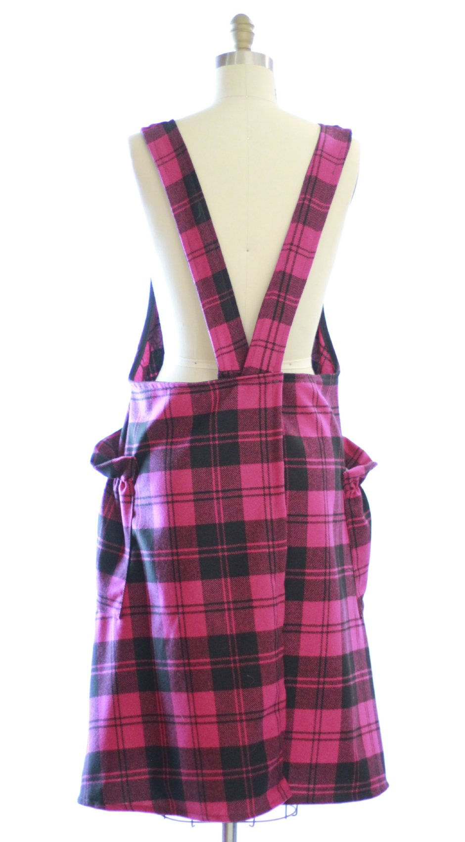 XS-5X Wool Pink Plaid - No Tie Crossback Apron