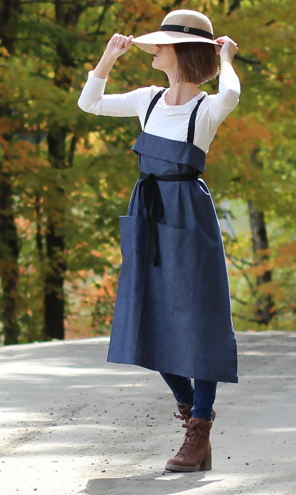 The Wrap Apron in Denim - Side View