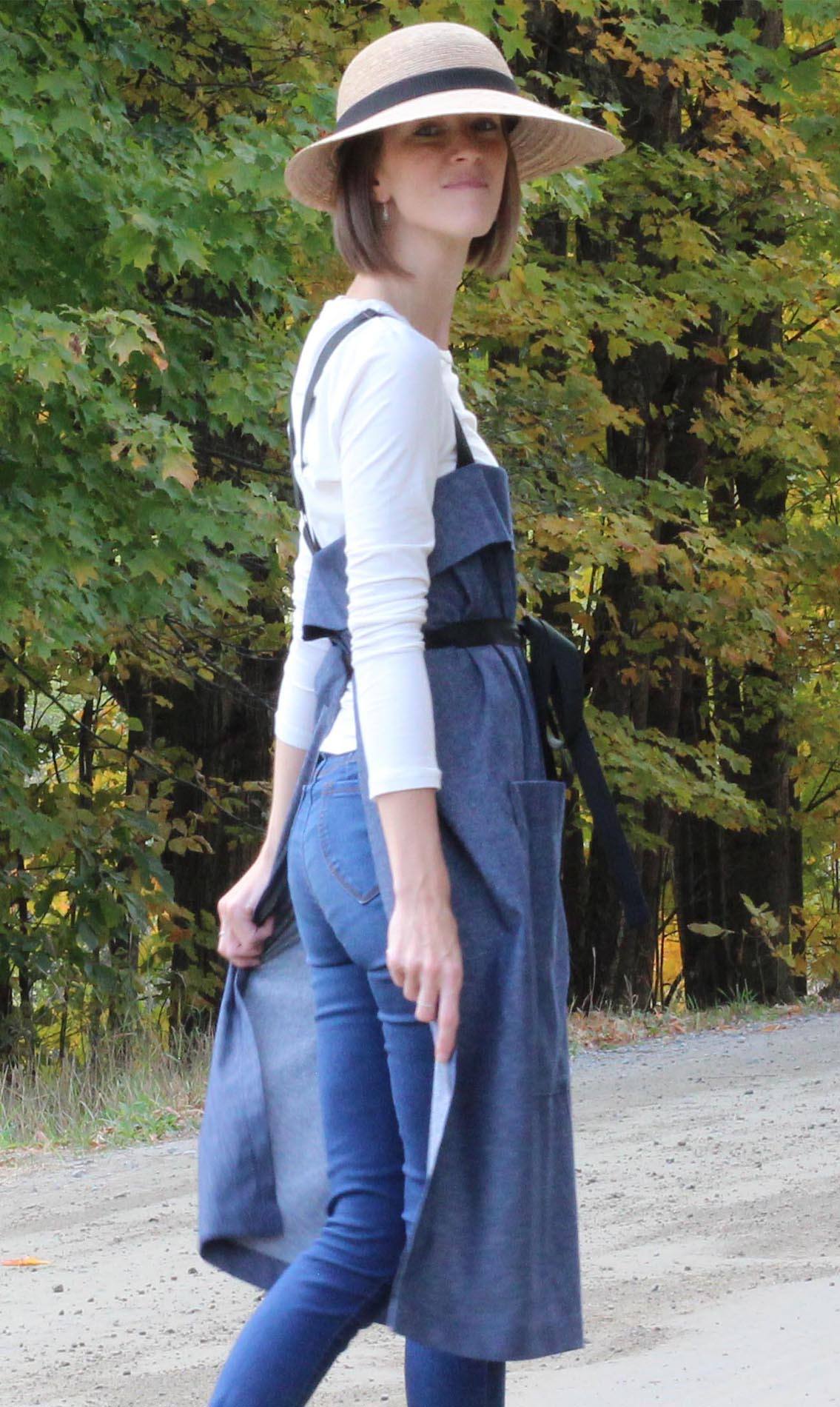 The Wrap Apron in Denim - Back View
