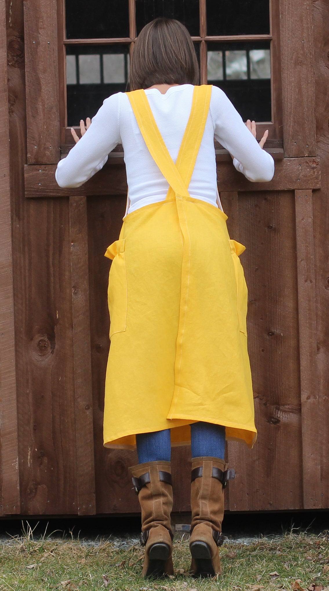 Yellow Linen No Tie Crossback Apron - Back View