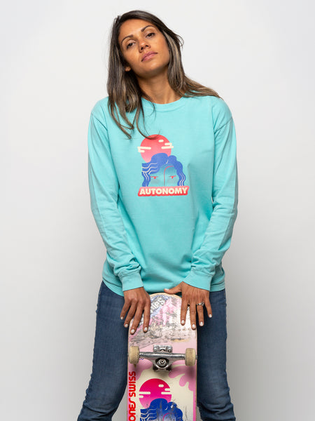 Autonomy Face Long Sleeve Crew - Mint