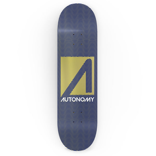 Autonomy Skateboards No Comply Deck - Wavelengths - Blue/Gold