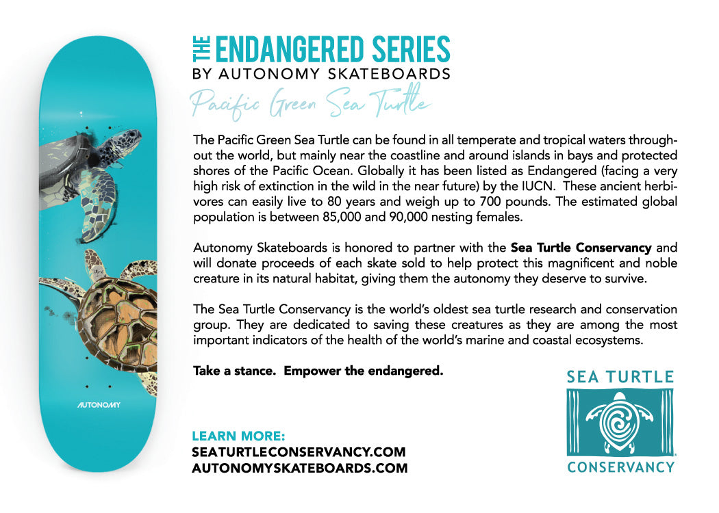 Autonomy Skateboards Endangered Series Deck - Sea Turtle