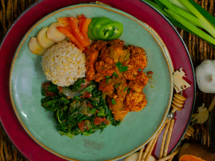 Global Village Cuisine | Cayenne-Ginger Chicken with Spicy Eggplant Sauce Dinner