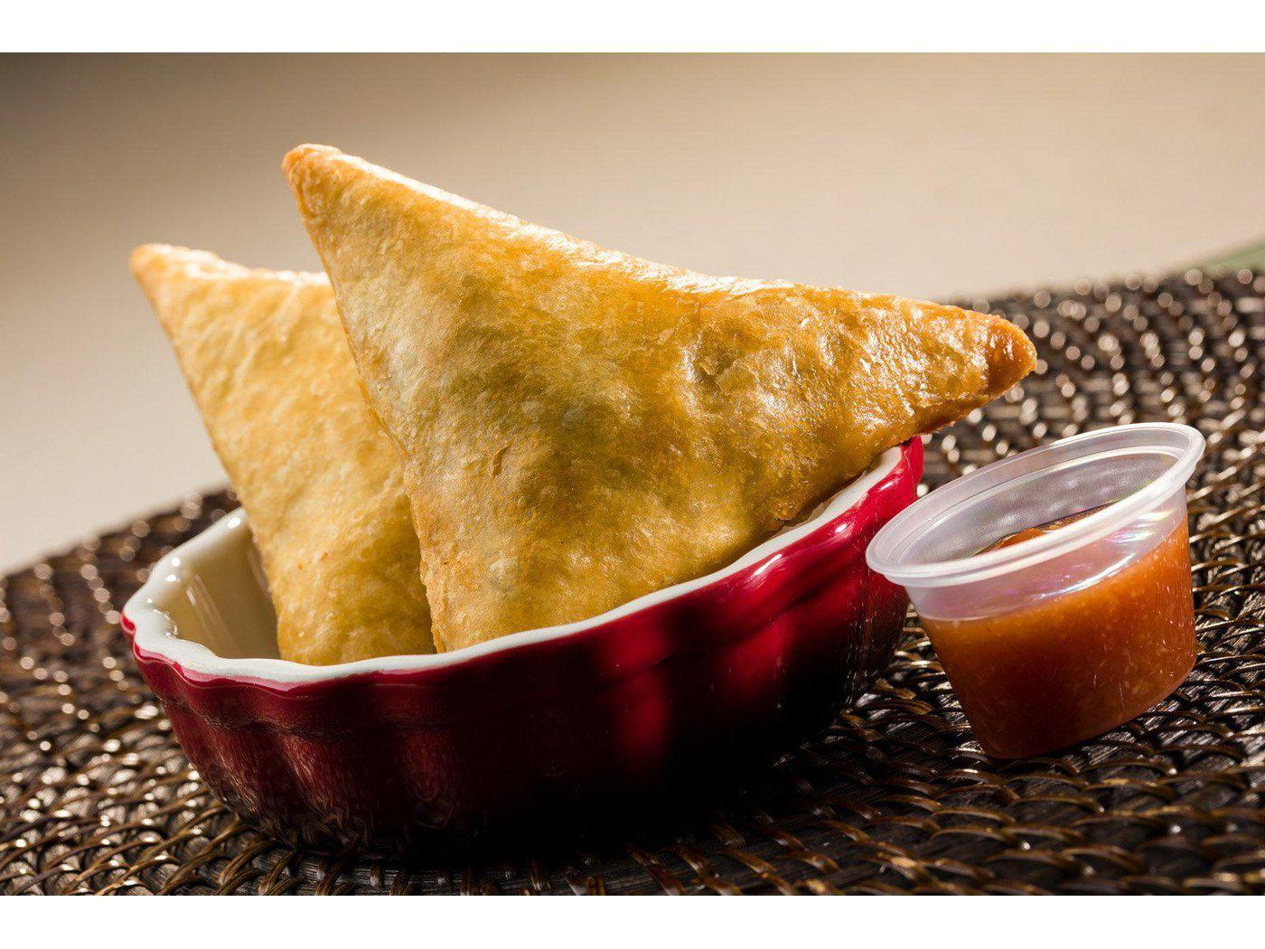 Samosa Mixed Sampler :  Vegetable, Chicken, and Beef Samosa (18 piece case)