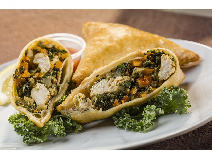Global Village Cuisine | Mediterranean Spiced Chicken & Spinach Samosa