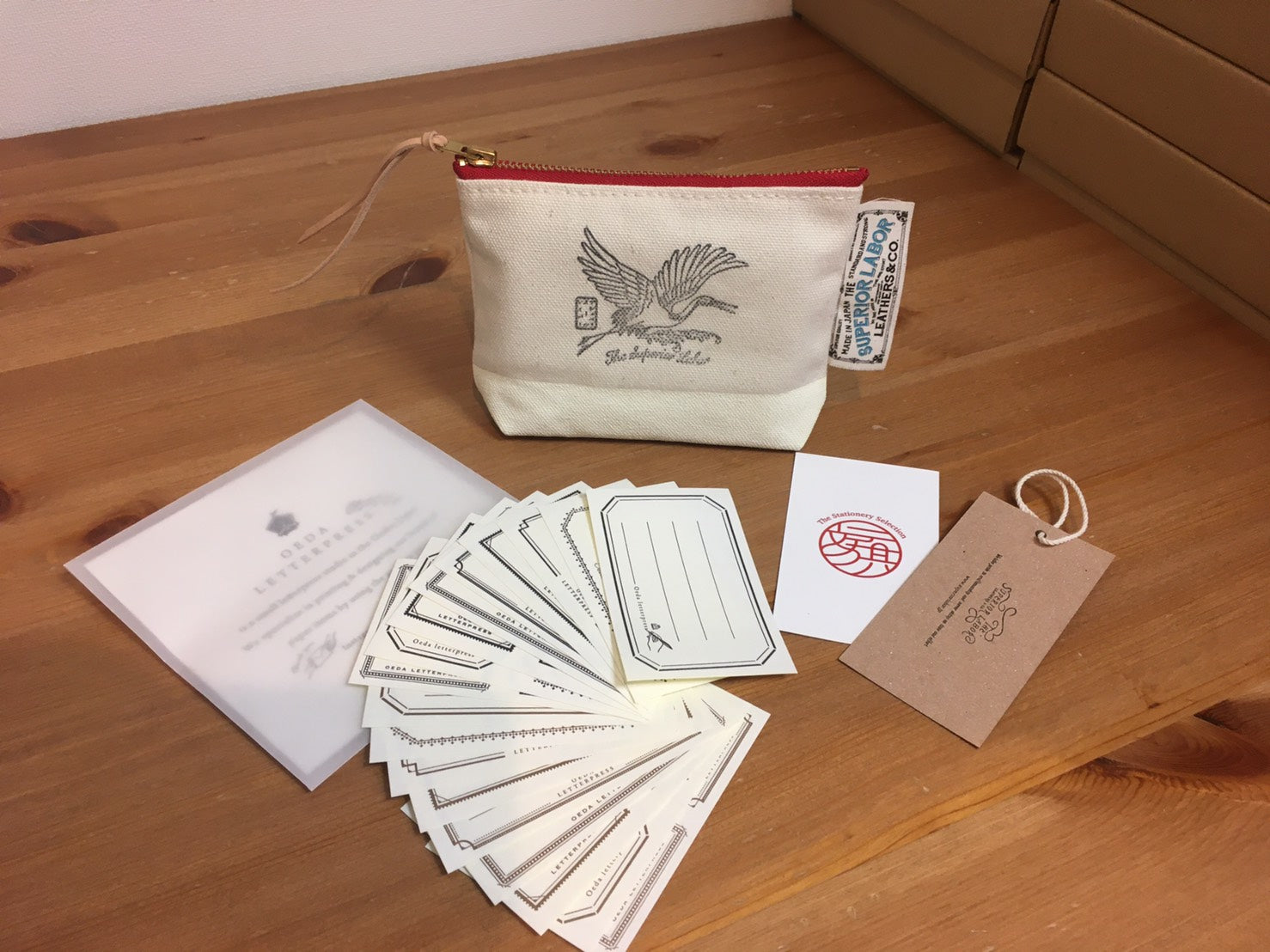 The Superior Labor White Crane Pouch × Oeda Letterpress Sticker Set [Original & Limited Edition]