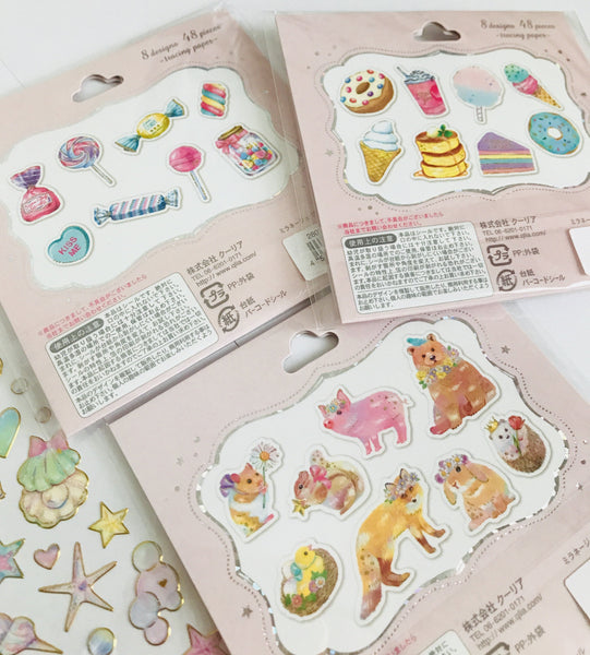 Kawaii Pretty Sticker Set - Flake stickers , gold foiled stickers *FREE Shipping*