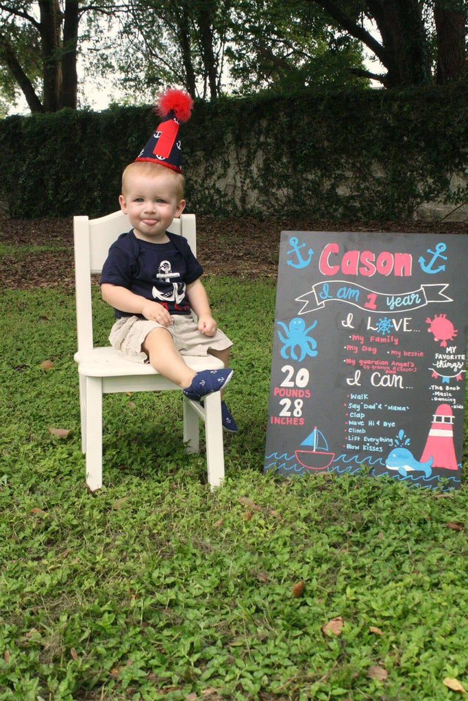 First Birthday Baby Boy Top - Anchor Print Birthday Outfit - Rebels and Roses Boutique