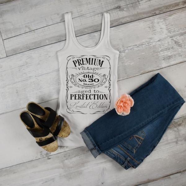 Vintage Birthday Shirt - Custom Birthday Shirt - Personalized Birthday Top For Her - Vintage Label White Tank - Rebels and Roses Boutique