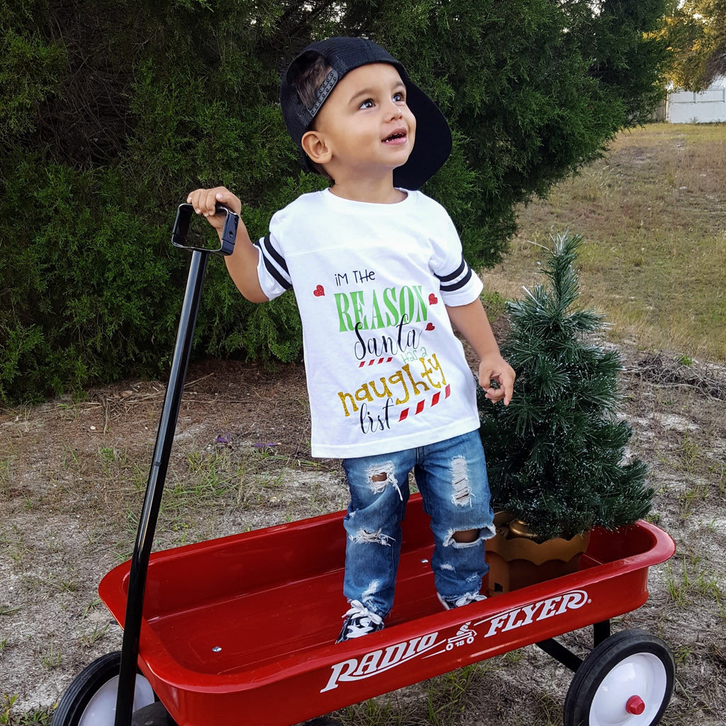 Funny Santa's List Christmas Top For Kids - Rebels and Roses Boutique