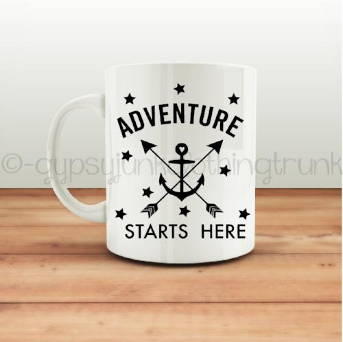 Adventure Starts Here Coffee Mug - Arrow Print Coffee Mug - Rebels and Roses Boutique