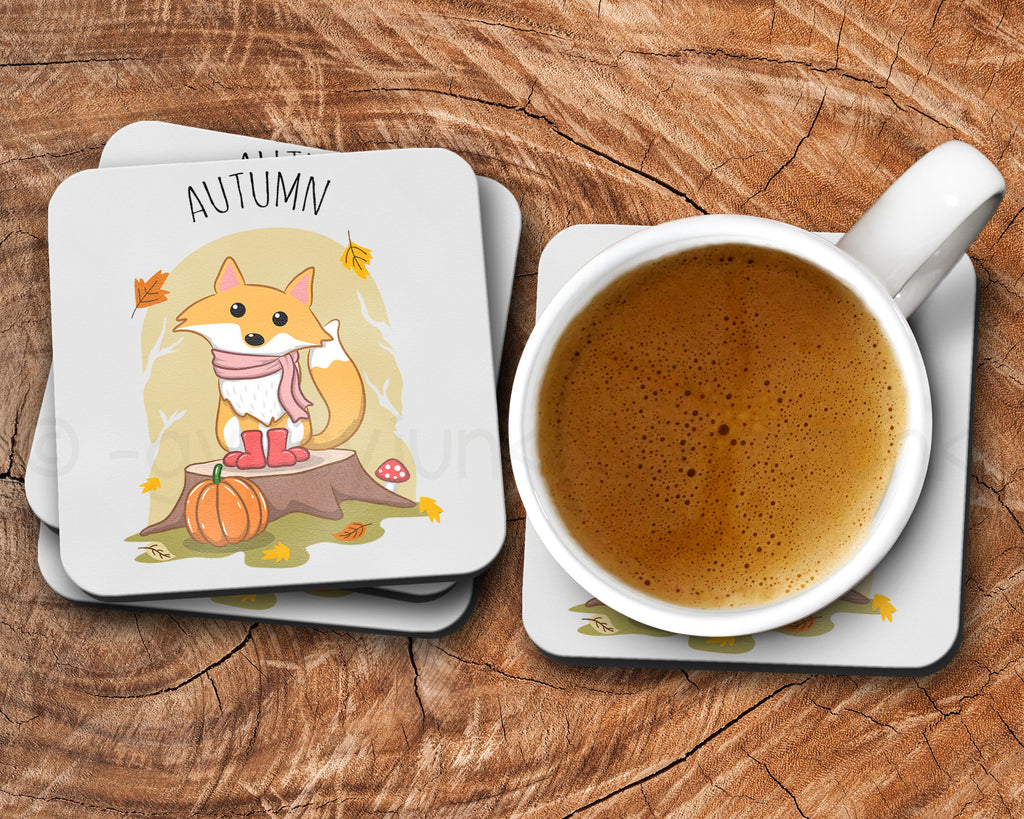 Fall Drink Coasters - Fox Drink Coasters - Rebels and Roses Boutique