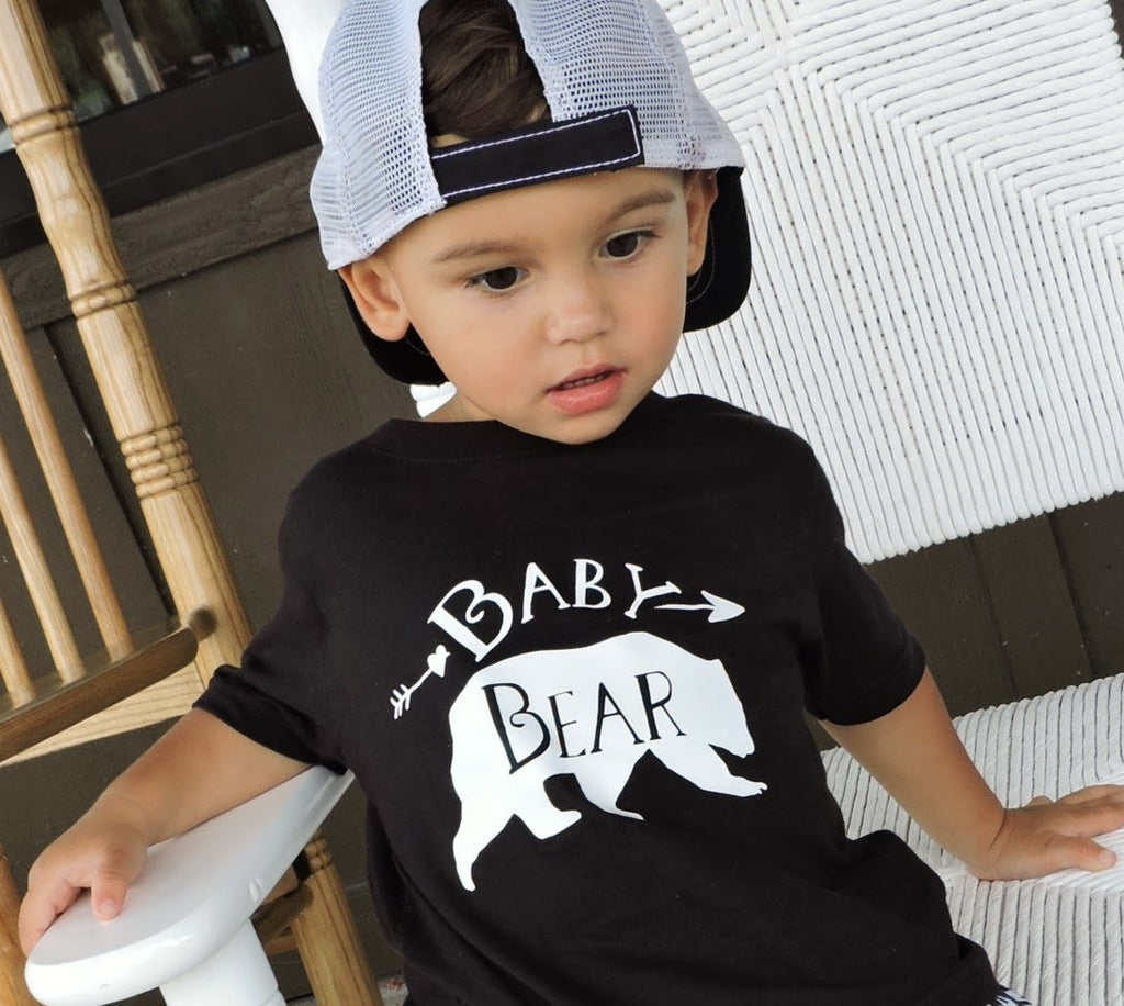 Baby Bear Black Crew Neck - Bear Tops for Kids - Rebels and Roses Boutique