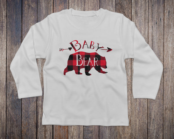 Baby Bear Buffalo Plaid White Long Sleeve - Baby Bear Tops for Kids - Rebels and Roses Boutique