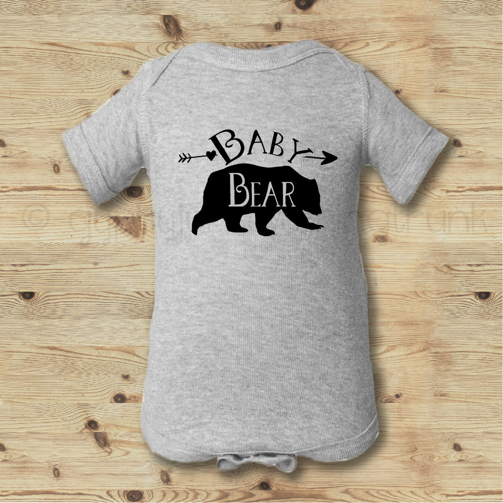 Baby Bear Gray and Black Bodysuit