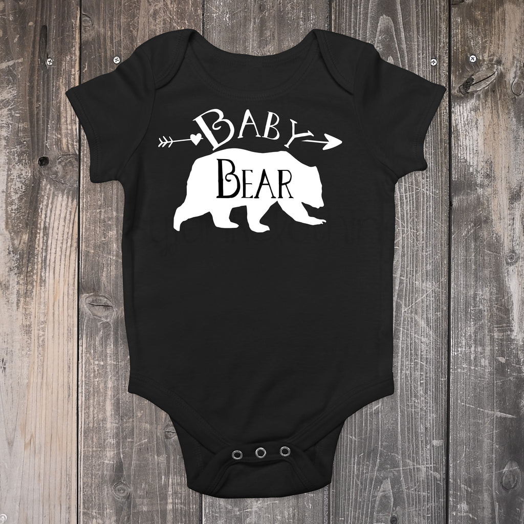 Baby Bear Bodysuit - Black and White Bear Top for Baby - Rebels and Roses Boutique