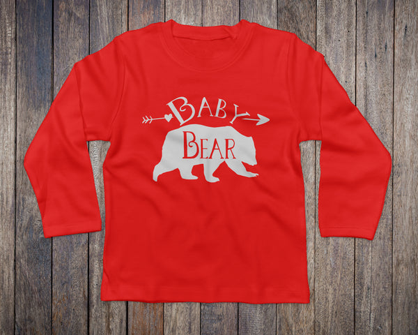 Baby Bear Long Sleeve Red Tee - Bear Tops for Kids - Rebels and Roses Boutique