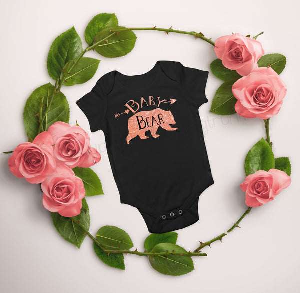 Baby Bear Bodysuit - Rose Gold Bear Top for Baby - Gypsy Junk Clothing Trunk