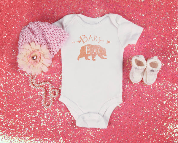 Baby Bear Bodysuit - Rose Gold and White Bear Top for Baby - Rebels and Roses Boutique