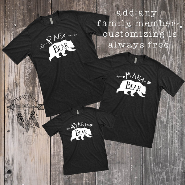 Black and White Bear Family Tees - Family Matching Outfits - Rebels and Roses Boutique