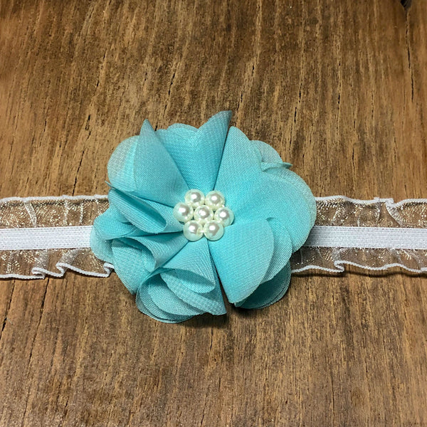 Blue Floral Baby Headband - Rebels and Roses Boutique