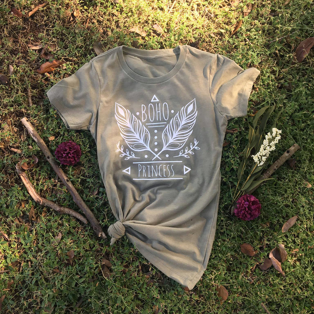 Boho Princess Top - Boho Shirt - Olive and White Tee - Rebels and Roses Boutique