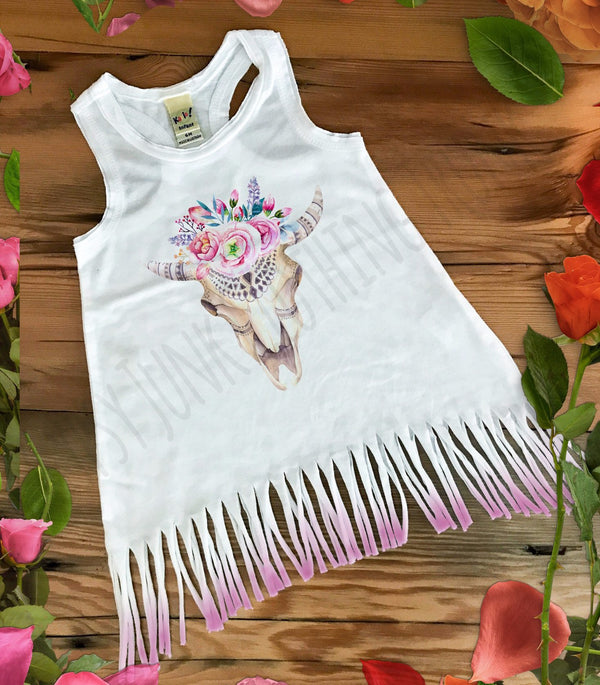 Cow Skull Fringe Baby Dress - Rebels and Roses Boutique