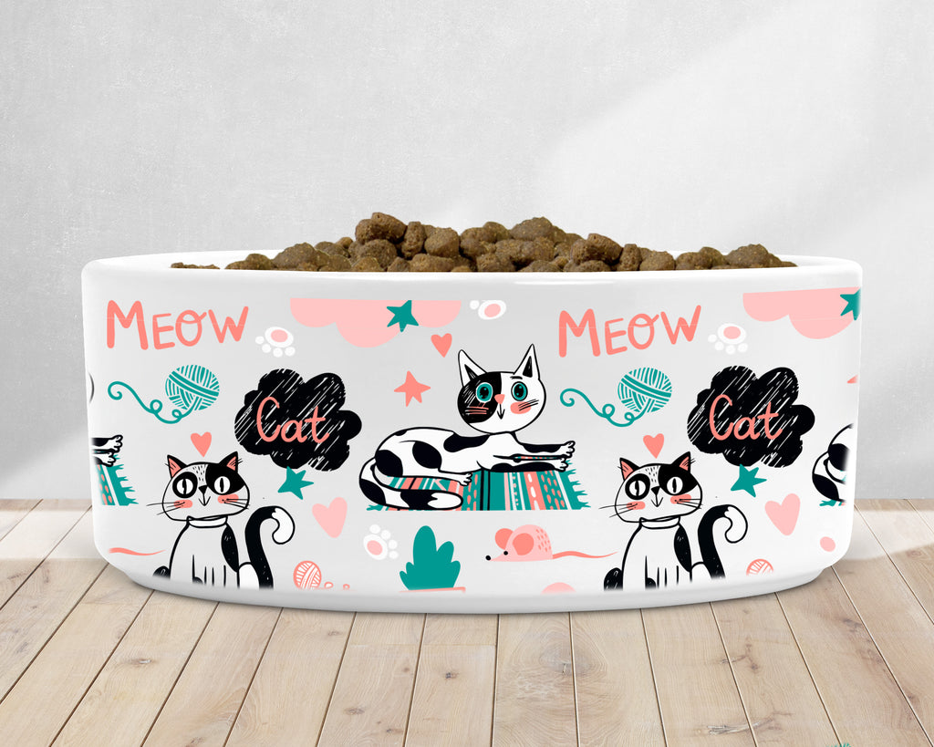 Meow Kitty Dish - Cat Dish - Pet Bowls - Rebels and Roses Boutique