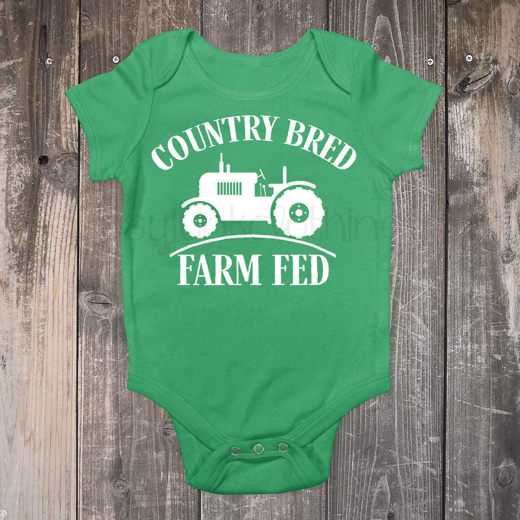 Country Bred and Farm Fed - Green Farming Top for Baby - Rebels and Roses Boutique