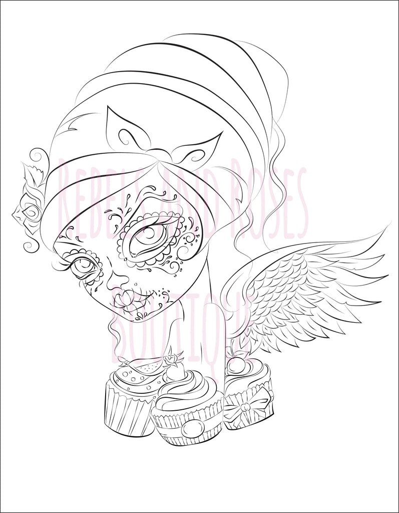 Cupcake Cutie Fairy Coloring Page - Digital Download - Rebels and Roses Boutique