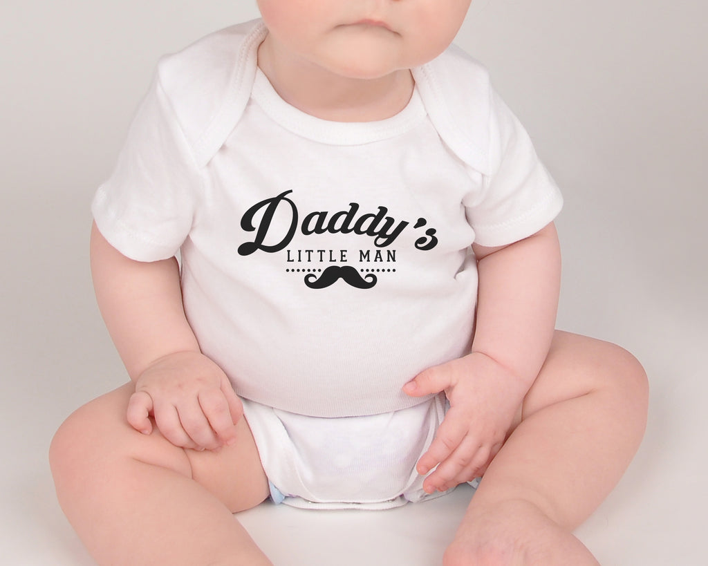 Daddy's Little Man - Father's Day Baby Bodysuit - White and Black
