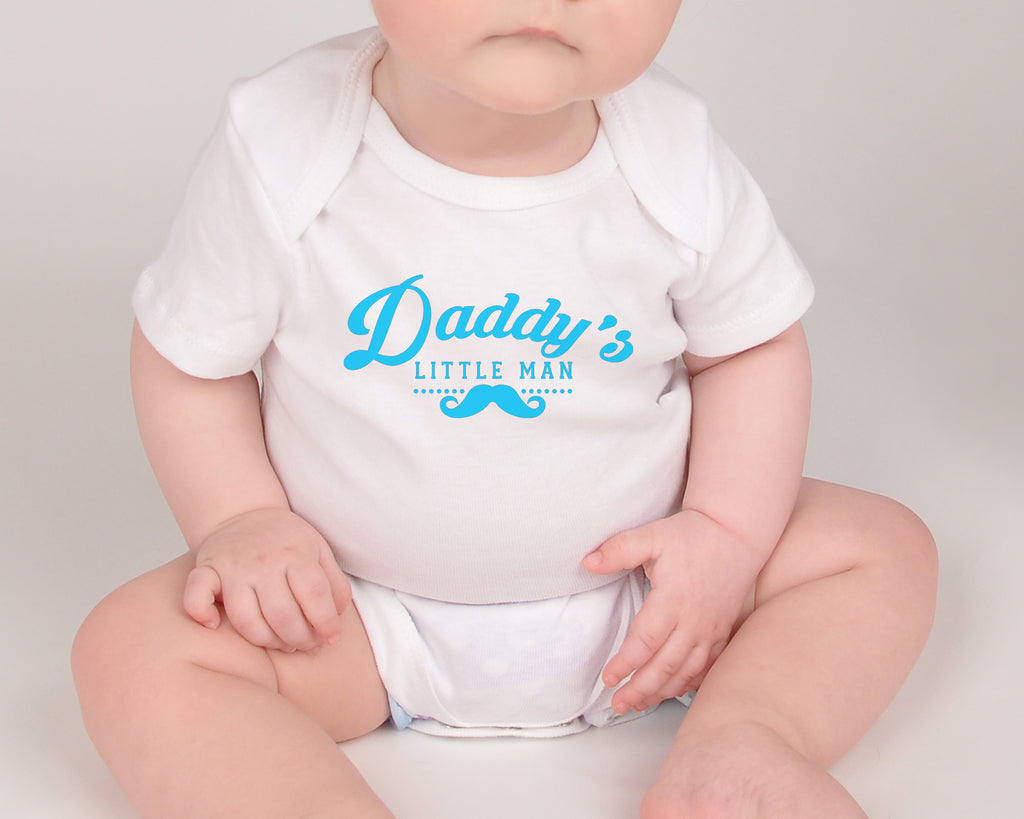 Daddy's Little Man - Father's Day Baby Bodysuit - White and Black - Rebels and Roses Boutique